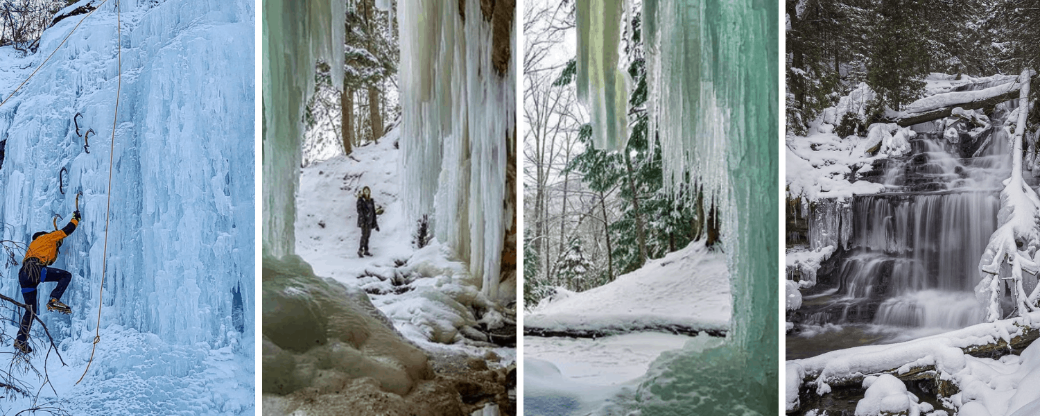 Frozen Waterfalls and Ice Caves header 19 Amazing Frozen Waterfalls in Michigan to Explore This Winter