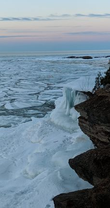 ice caves and frozen waterfalls in Michigan: Presque Isle