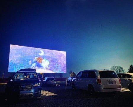 watch a holiday movie at a michigan drive-in theater
