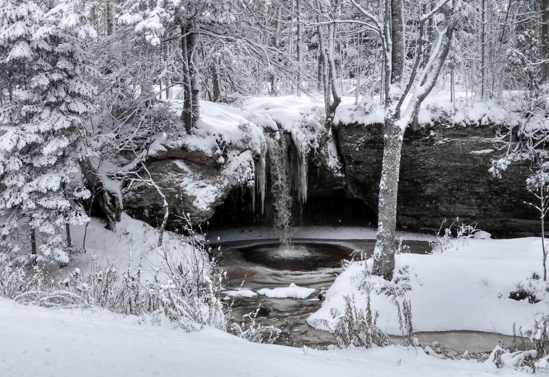 Frozen Scott Falls near Munising Michigan