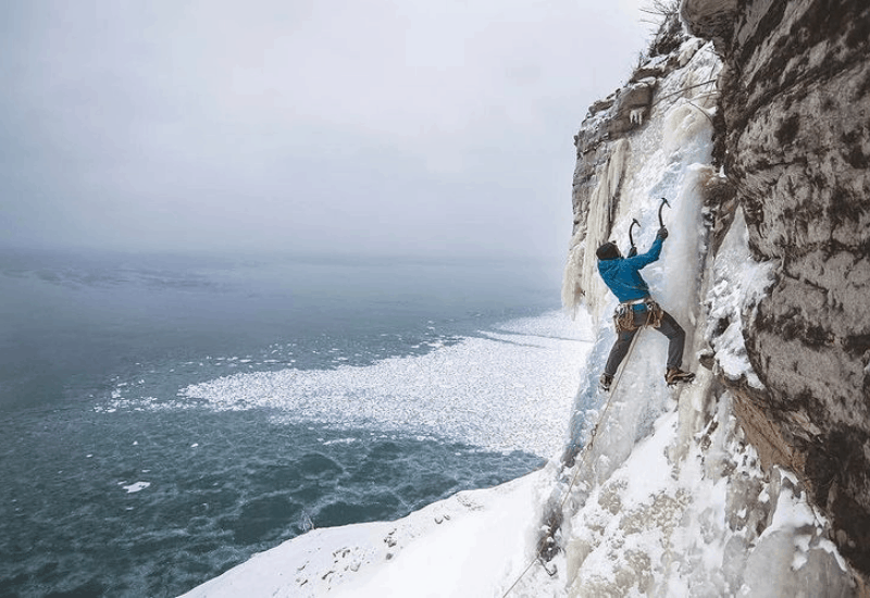 ice climbing pictured rocks bridalveil frozen waterfall michigan