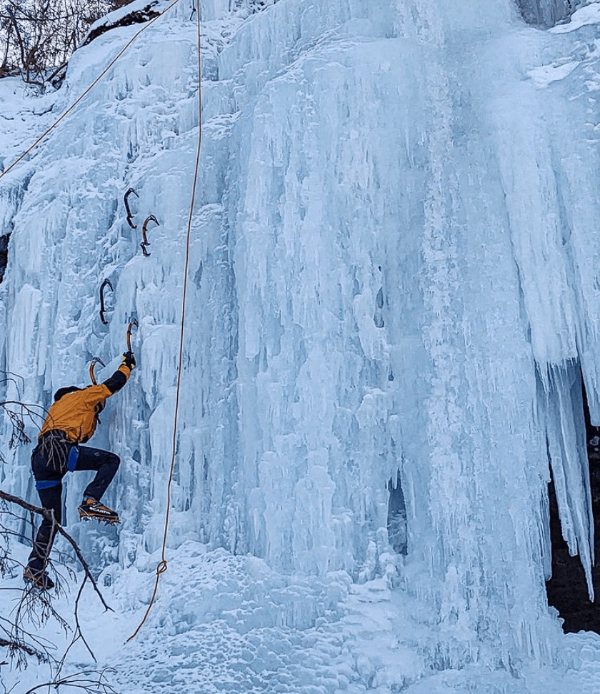 ice caves and frozen waterfalls in Michigan: UP