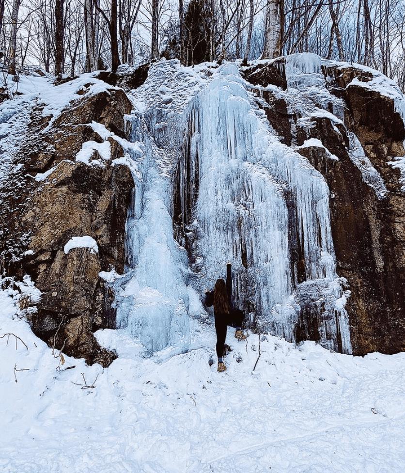 ice caves and frozen waterfalls in Michigan: Ishpeming