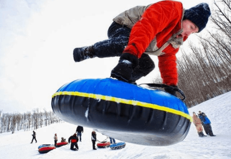 snow tubing in traverse city in winter