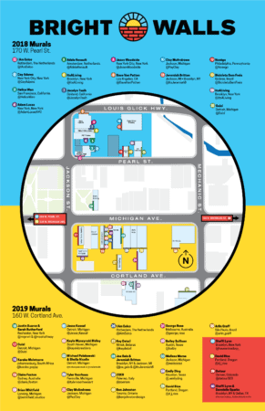 Bright Walls Map 2018 2020 See the Bright Walls Murals in Downtown Jackson