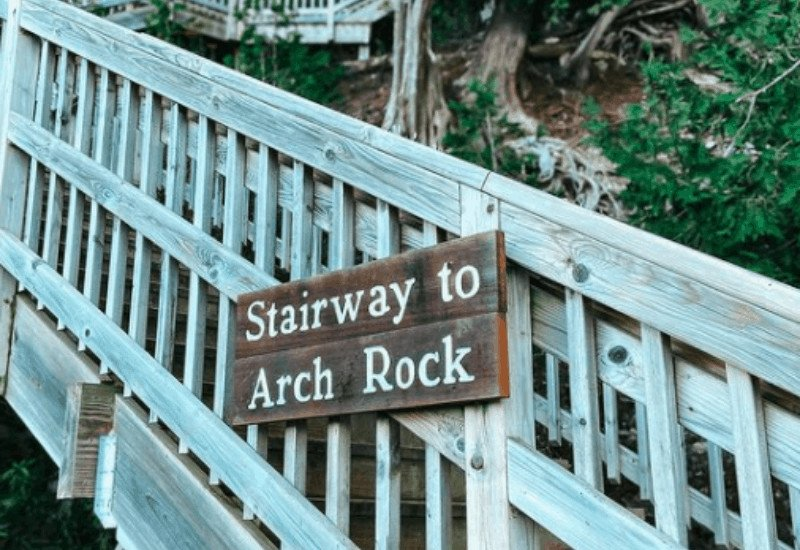 207 stairs to Arch Rock Mackinac Island