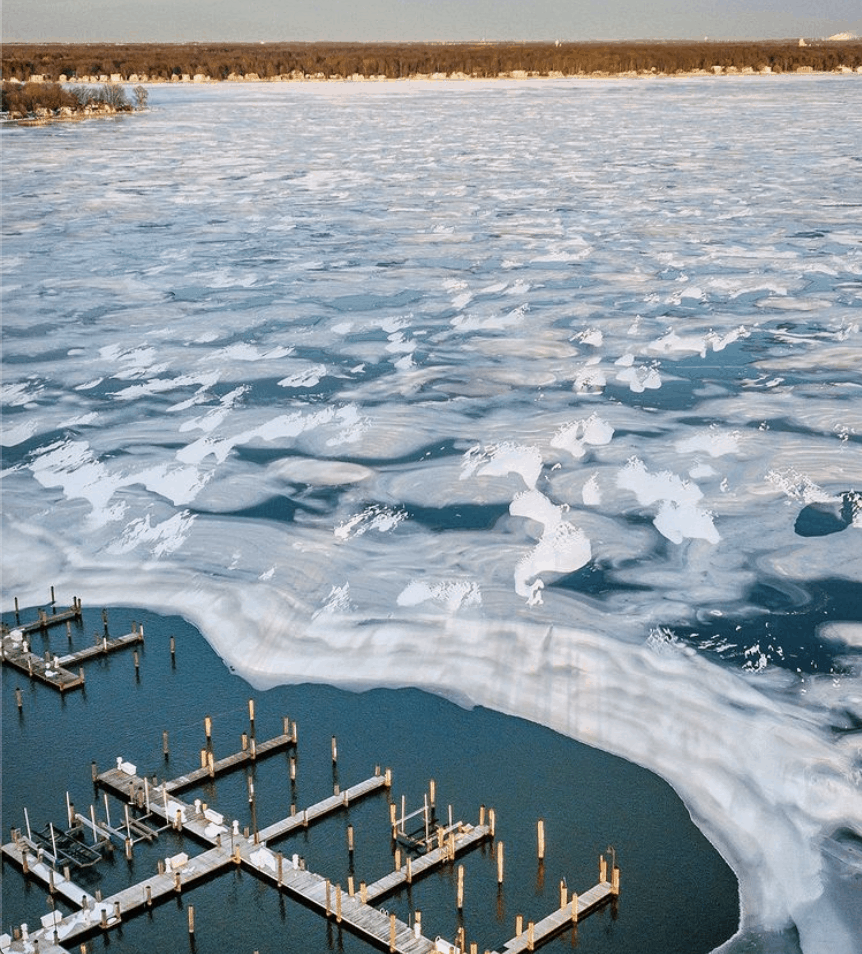 frozen winter lakes in Michigan: Holland