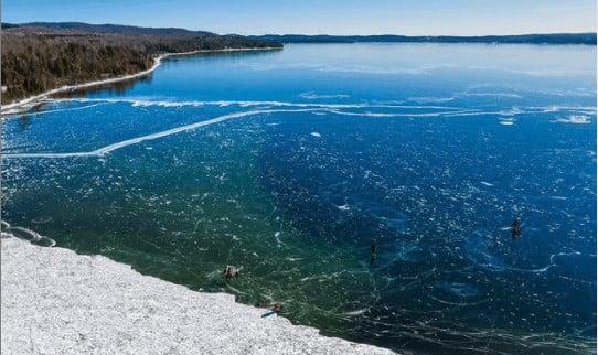 frozen winter lakes in Michigan: Horton Bay