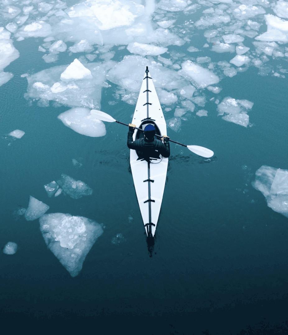 frozen winter lakes in Michigan: Lake Huron