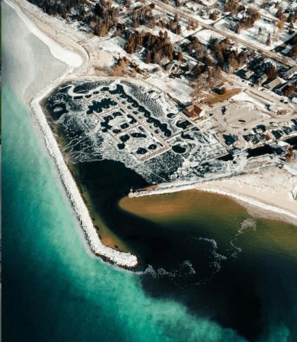 frozen winter lakes in Michigan: FishtownLeland