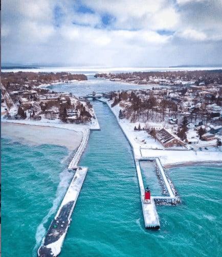 frozen winter lakes in Michigan: Lake Charlevoix