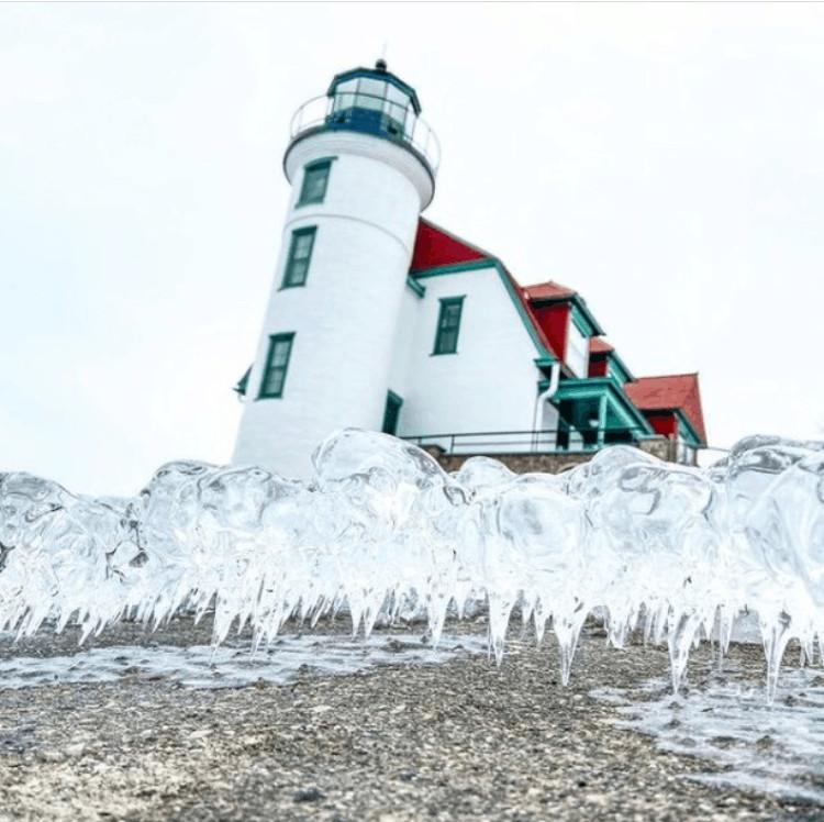 winter lighthouse in Michigan:Point Betsie