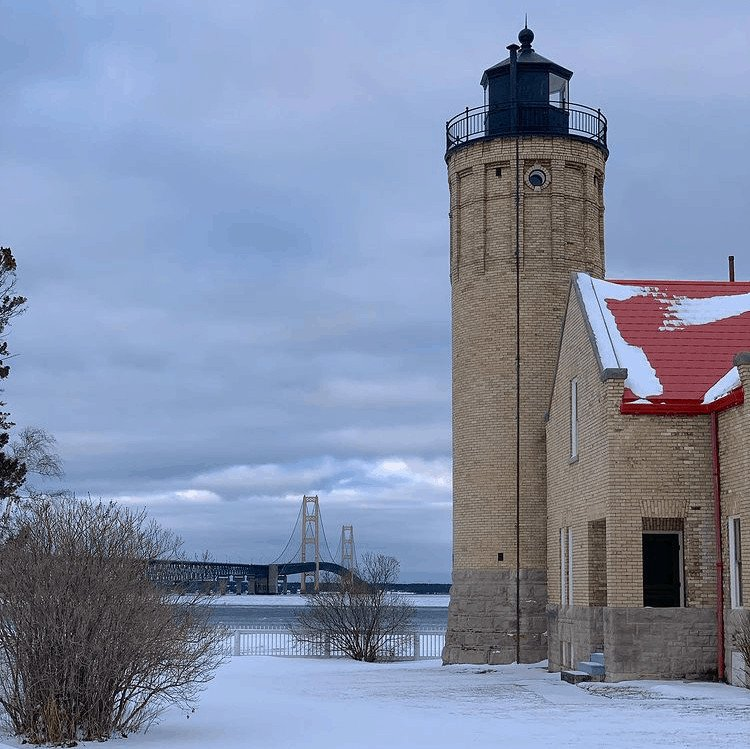 winter lighthouse in Michigan:Old Mackinac Point Light