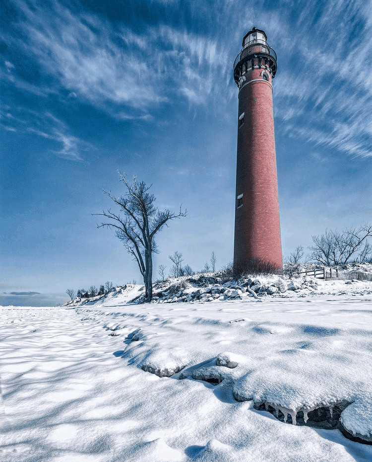 winter lighthouse in Michigan:Little Sable Point
