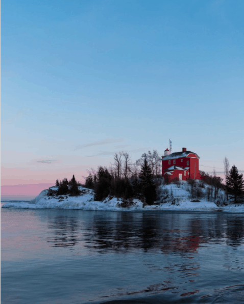 winter lighthouse in Michigan:Marquette Harbor Light
