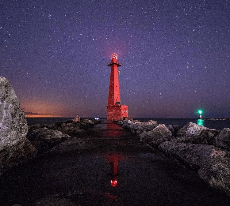winter lighthouse in Michigan:Muskegon