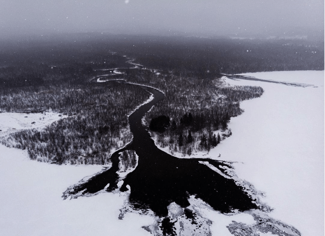 frozen winter lakes in Michigan: Platte Lake