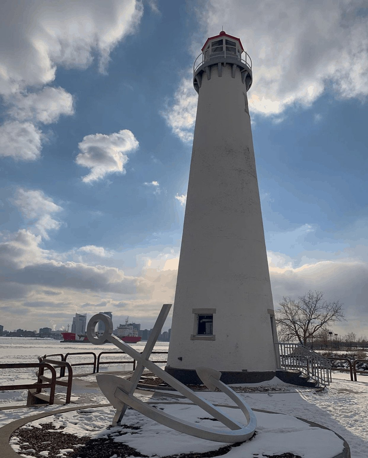 winter lighthouse in Michigan:Milliken State Park And Harbor
