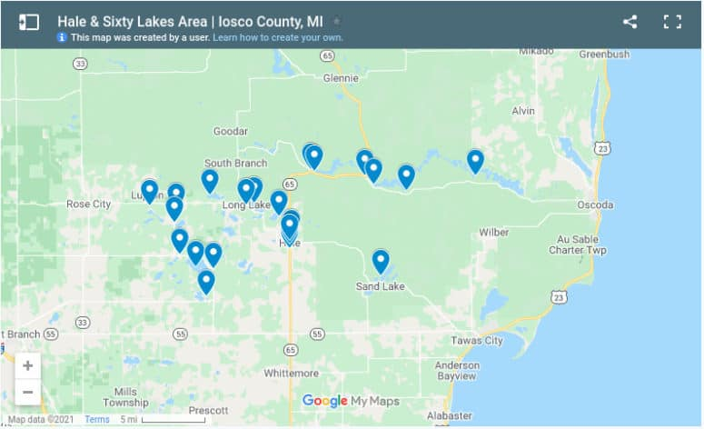 Hale Sixty Lakes Map Enjoy Roger's Donuts, Alward's Bacon, & Sixty Lakes Area | Iosco County