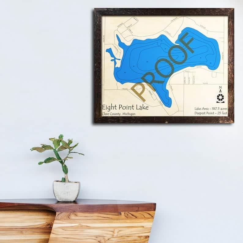 Eight Point Lake Wood Laser Map