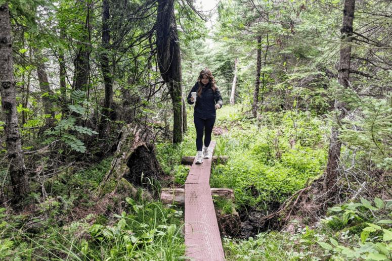 Navigating the wood planks at Isle Royale National Park